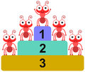 Platform ants a conceptual illustration of success with five on a Royalty Free Stock Photo