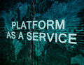 Platform as a service text concept on green digital world map background Royalty Free Stock Photography