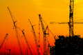 Platform oil rig fabrication site silhouette of construction activities Stock Photography