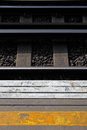 Platform and railway track at London Train station Stock Photos