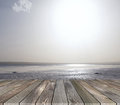Platform with sea view ready and sun Royalty Free Stock Photos