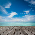 Platform beside sea wood the Stock Photography