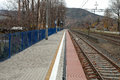 Platform on small railway station in piechowice city in poland Stock Photography