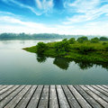 The platform of the small river wooden structure Stock Photo