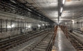 Platform for train driver in the new subway tunnel Royalty Free Stock Photo