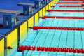 Platforms for start in swimming pool Stock Image