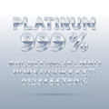 Platinum silver font and numbers eps vector editable for any background Royalty Free Stock Photos