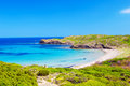 Platja del tortuga beach in sunny day at menorca island spain Stock Images
