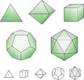 Platonic solids with green surfaces regular convex polyhedrons in euclidean geometry there are five each is named according to its Stock Photography