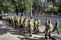 Platoon of soldiers going through the city penza russia august walking along street penza Royalty Free Stock Image