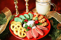 Platter of Christmas Cookies Stock Photos