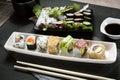 Platter sushi roll Royalty Free Stock Photo