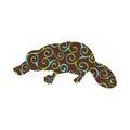 Platypus mammal color silhouette animal