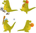 Play ball dino vector set of four cute dinosaurs playing sports eps Royalty Free Stock Photo
