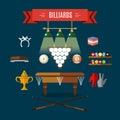 Play Billiards Flat Icon Set
