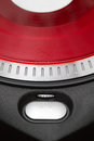 Play button on vinyl record player Royalty Free Stock Images