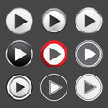 Play buttons set of different Stock Photography