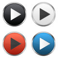 Play buttons set of metallic Stock Photos