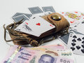 Play card playcard away bet gamble gambling playcard poker wager dealer of playing cards Royalty Free Stock Images