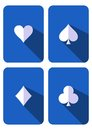 Play cards blue playing with white symbols flat design Royalty Free Stock Photo
