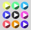 Play Circular Vector Colorful Web Icon Set Button