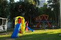 Play equipment in urban park Royalty Free Stock Images