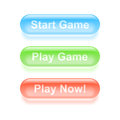 Play game glassy buttons set of colorful vector illustration Royalty Free Stock Photos