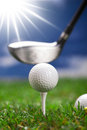 Play golf! ball and bat Royalty Free Stock Photo