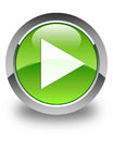 Play icon glossy green round button Royalty Free Stock Photo