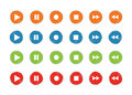 Play and record button icon set grunge 4 color vector Royalty Free Stock Photo