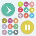 Play signs icon set on color circles Royalty Free Stock Photos