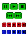 Play stop pause buttons set of in different colours Stock Photos
