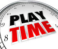 Play time clock fun recreation recess sports activity words on a to illustrate period or when kids or adults can or enjoy in Stock Photography