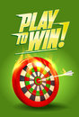 Play to win design, burning target illustration, sport or business success