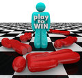 Play to win person last one standing winner game the words on a of a competition the man or on a chess board or table Stock Photos
