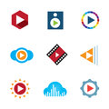 Play the video button cloud creative music logo icon tape enjoy Royalty Free Stock Images