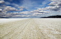 Playa of the black rock desert under a stormy sky east of gerlac gerlach nevada site annual burning man festival every fall Stock Photo