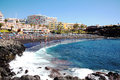 Playa de la arena tenerife is a small holiday resort town canary islands spain Stock Image