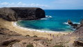 Playa de papagayo beach famous for its blue water lanzarote island Stock Photography
