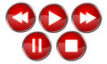Player buttons red Royalty Free Stock Photo