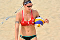 Player of female beach volleyball in match shown as featured looking and environment the sport is a game which Royalty Free Stock Image