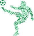 Player kicking soccer ball outline of a a or football artistically created by a mosaic of sports icons Royalty Free Stock Image