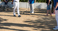 Player playing boules during a tournament Royalty Free Stock Photo