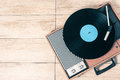 Player record and vinyl vintage Royalty Free Stock Photo