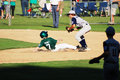 Player sliding into 2nd base. Royalty Free Stock Photo