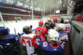 Players go on the ice to closing ceremony moscow apr of championship season of hockey for sports school junior teams and Royalty Free Stock Photo