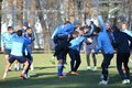 Players are joking and indulge october football team dnepr dnepropetrovsk сity held an open training session at their base Stock Photo