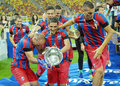 Players of steaua bucharest fighting for trophy the after the romanian supercup between bucharesta and petrolul ploiesti Stock Image