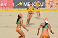 Players in women s beach volleyball a fivb world tour game progress is a game which has achieved worldwide popularity photo taken Royalty Free Stock Photography