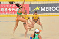 Players in women s beach volleyball a fivb world tour game progress is a game which has achieved worldwide popularity photo taken Stock Images